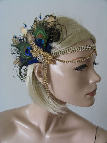 "Navy Blue Gold Green Peacock Feathers + Lace Crystal ""Beth"" Headband 1920s Art Deco Gatsby Flapper"